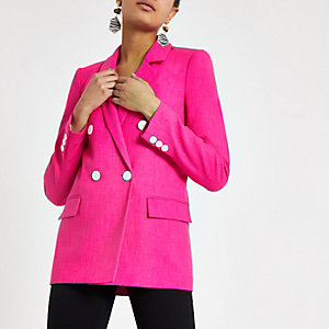 Pink double breasted boyfriend blazer