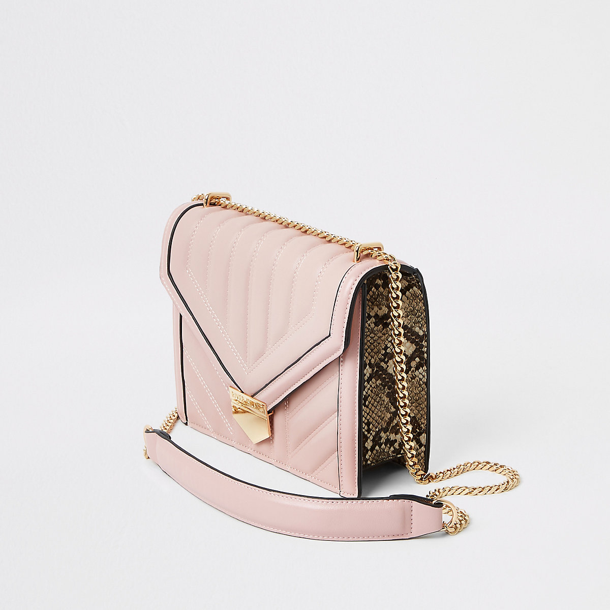 Pink quilted bar top cross body bag