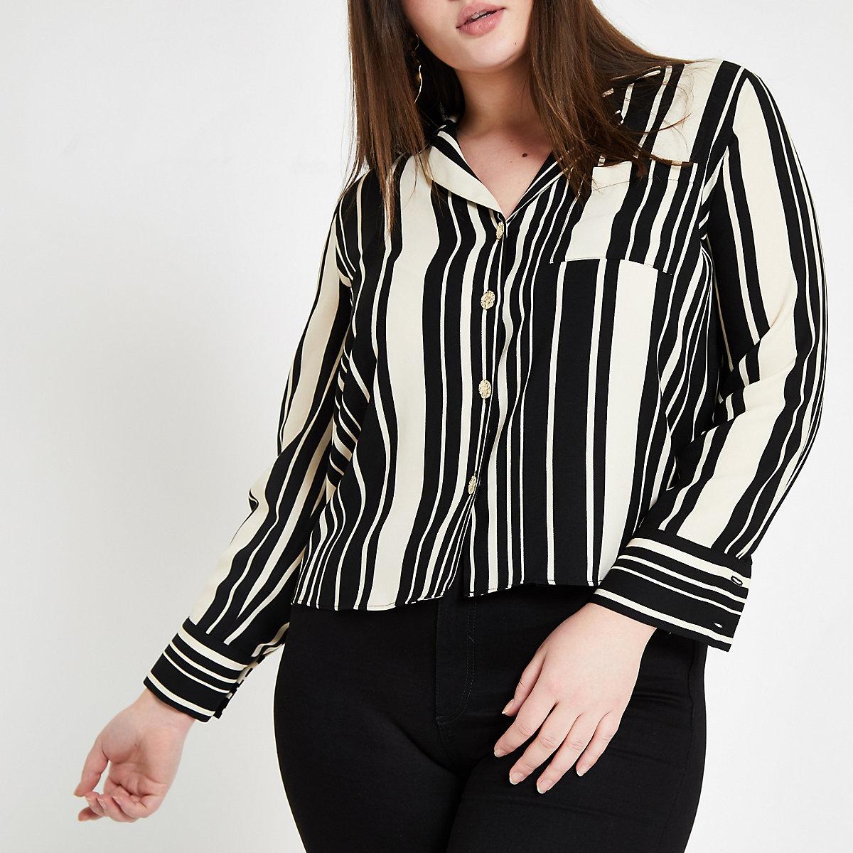 Plus black stripe long sleeve shirt