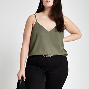 Plus khaki cross back cami top