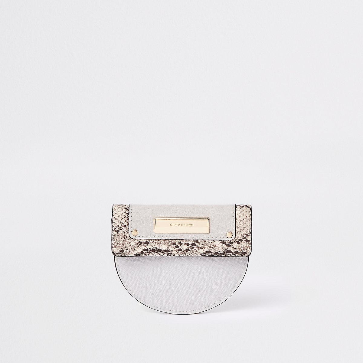 Grey snake print foldout coin purse