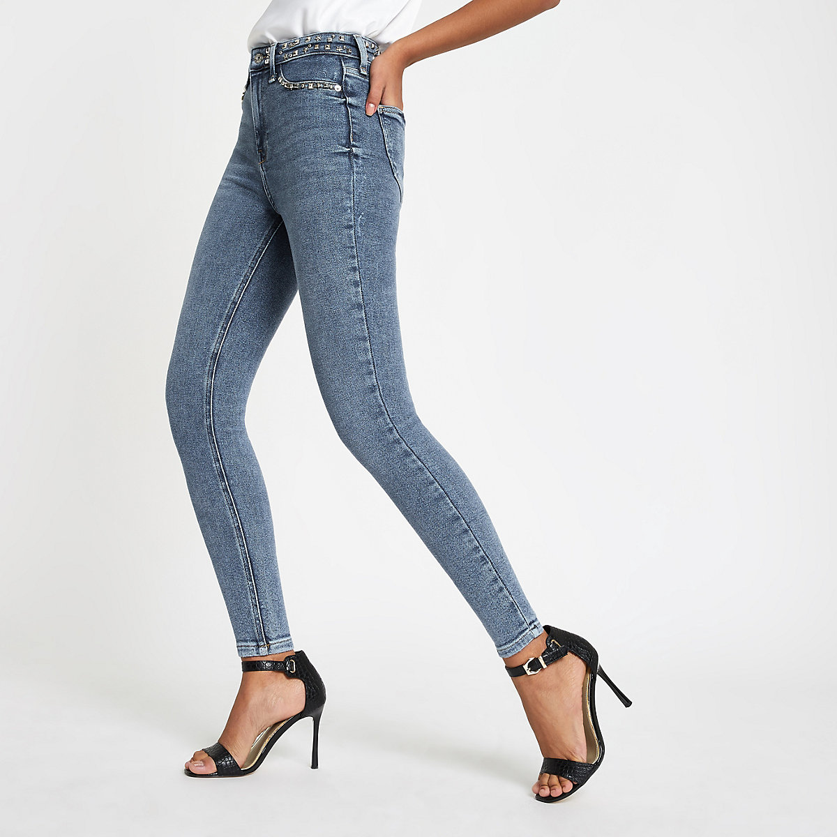 Blue Hailey high rise stud jeans