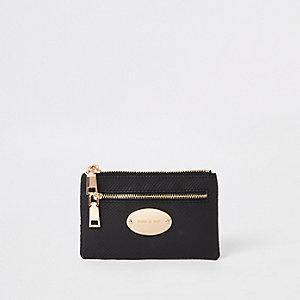 Zwart met goudkleurige ovalen kleine portemonnee met slangenprint