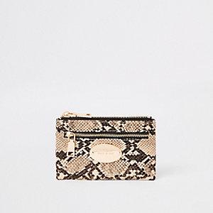 Beige Mini-Geldbörse in Schlangenlederoptik