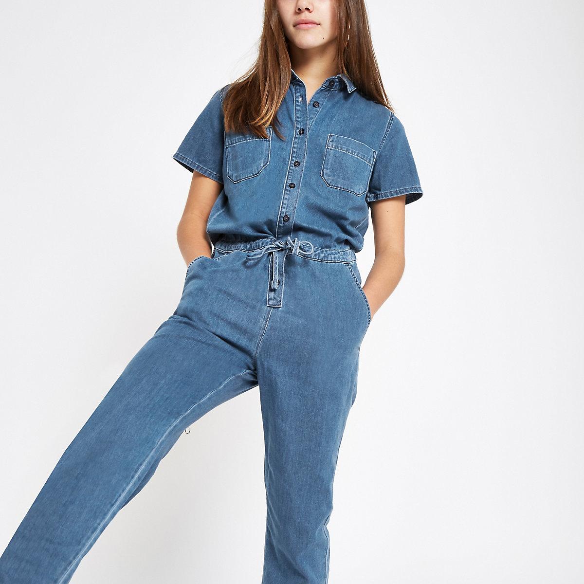 7d05b698a48 Petite blue utility denim jumpsuit - Jumpsuits - Playsuits   Jumpsuits -  women