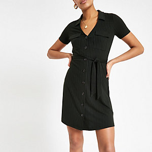 Khaki ribbed utility shirt dress