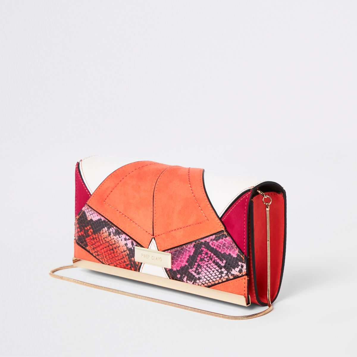 Pink snake cut about baguette clutch bag