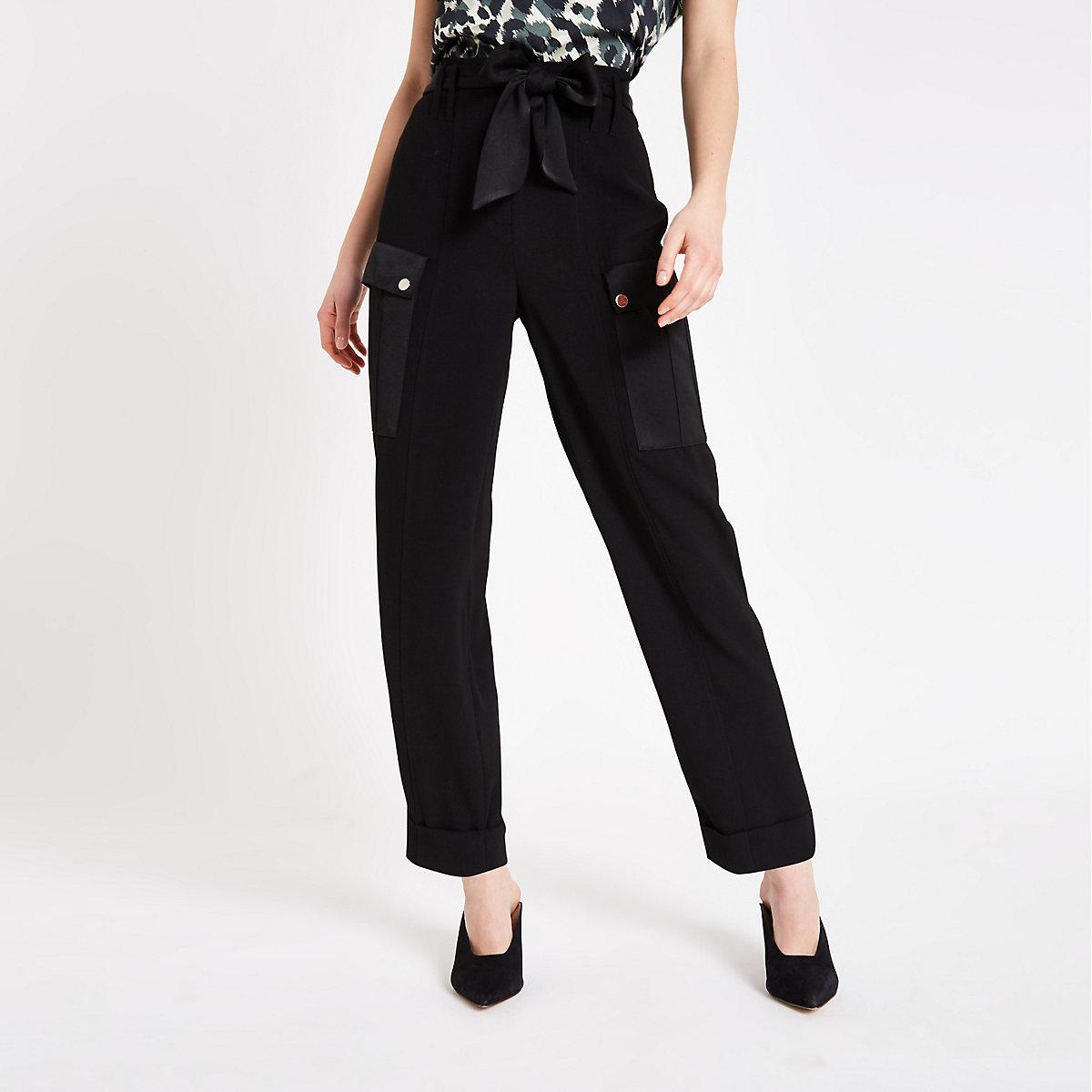 Black utility peg trousers