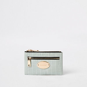Green croc mini oval RI branding purse
