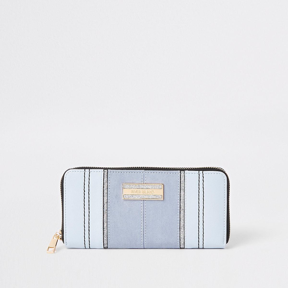 Blue glitter zip around purse