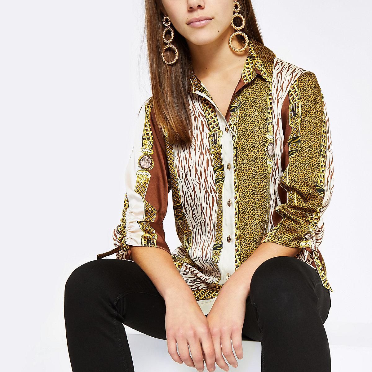 Petite brown mixed print boyfriend shirt