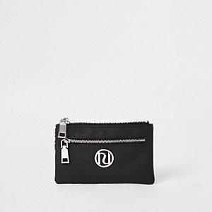 Zwart met zilverkleurige kleine portemonnee met slangenprint