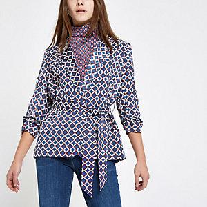 RI Petite - Blauwe blazer met geometrische print en ceintuur