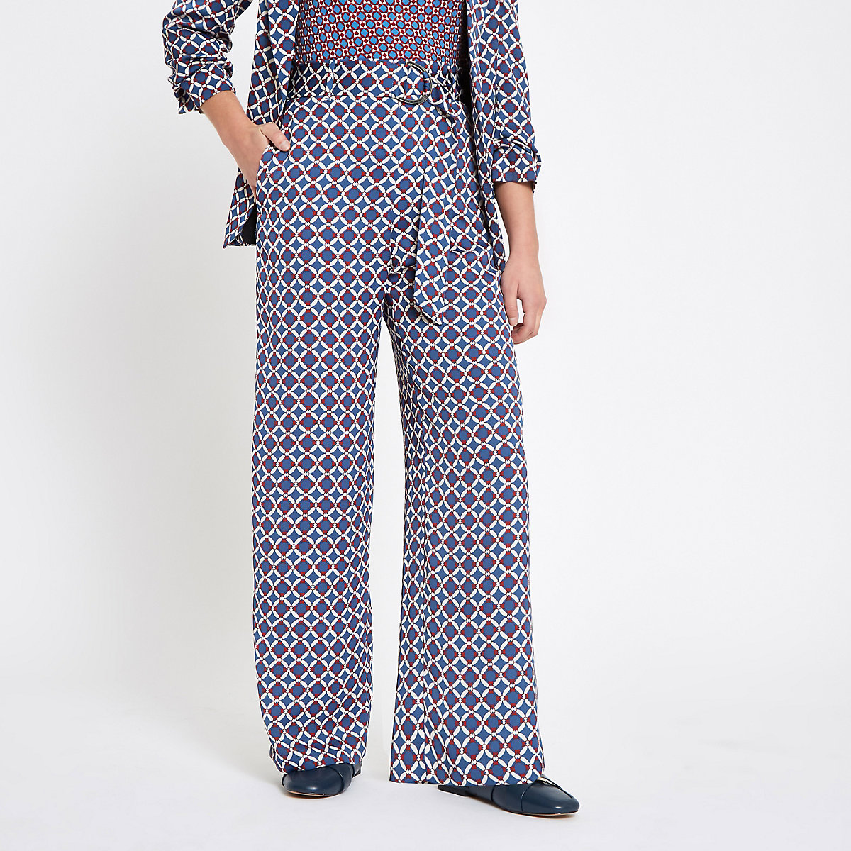 Petite blue geo print wide leg pants
