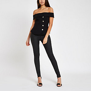 Black bardot fitted top
