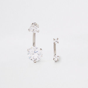 Silver rhinestone hoop belly bar pack