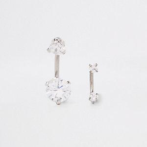 Set zilveren navelpiercingen met diamantjes en ring