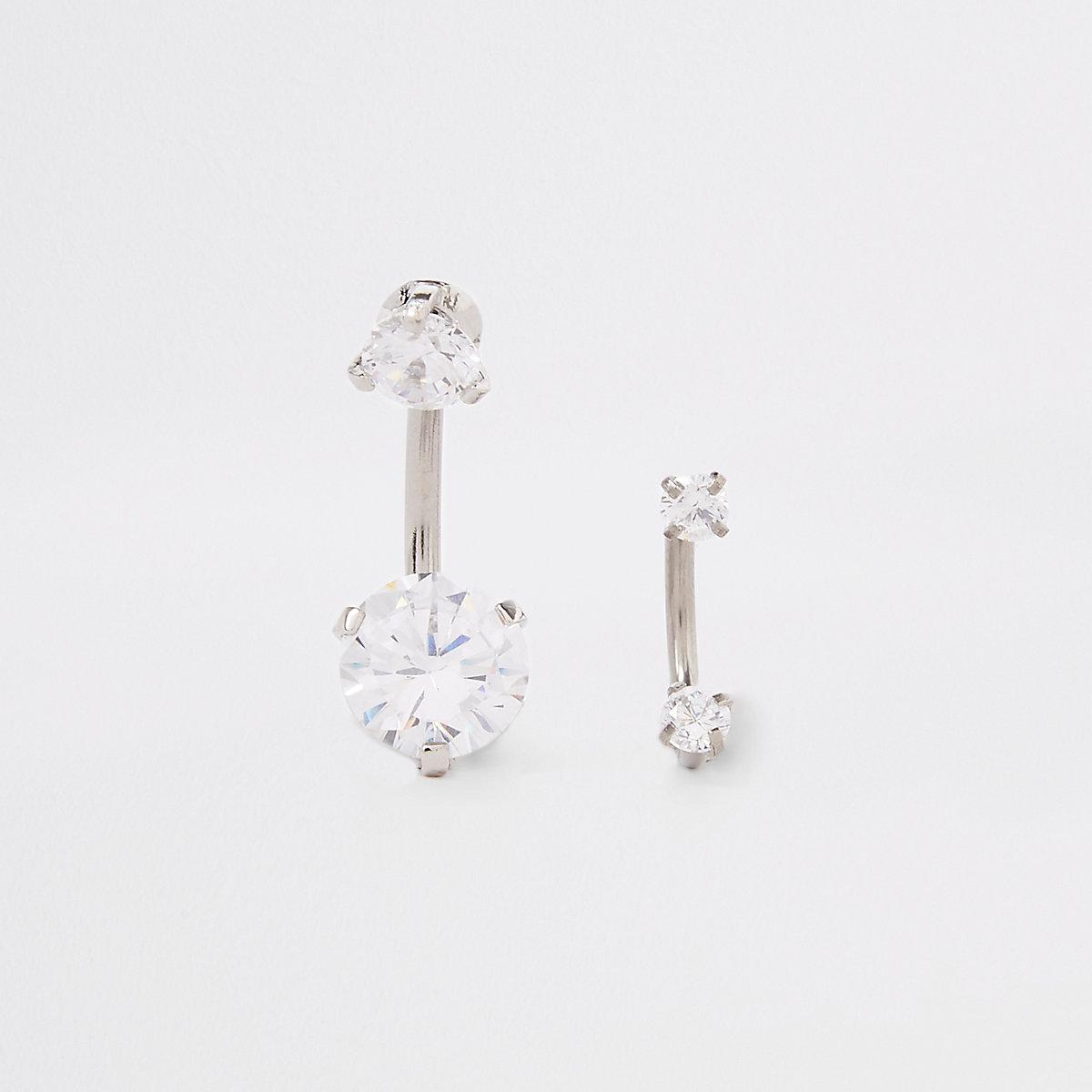 Silver diamante hoop belly bar pack