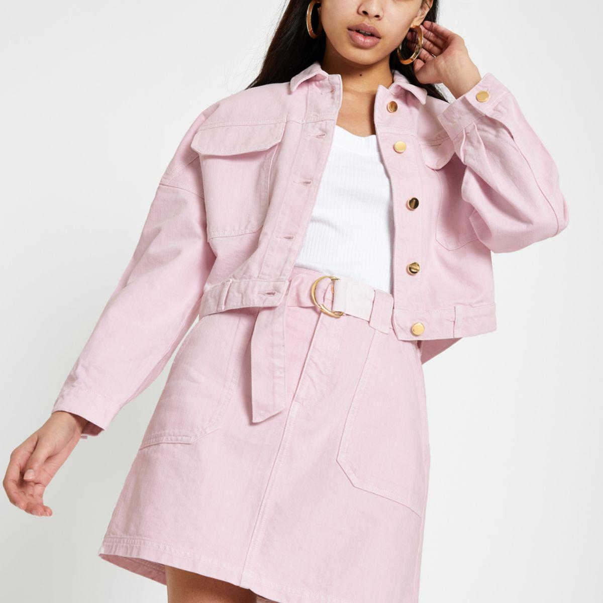 Pink oversized denim jacket