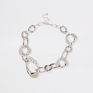 Silver colour chunky diamante necklace