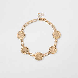 Collier chaîne doré avec médaillons