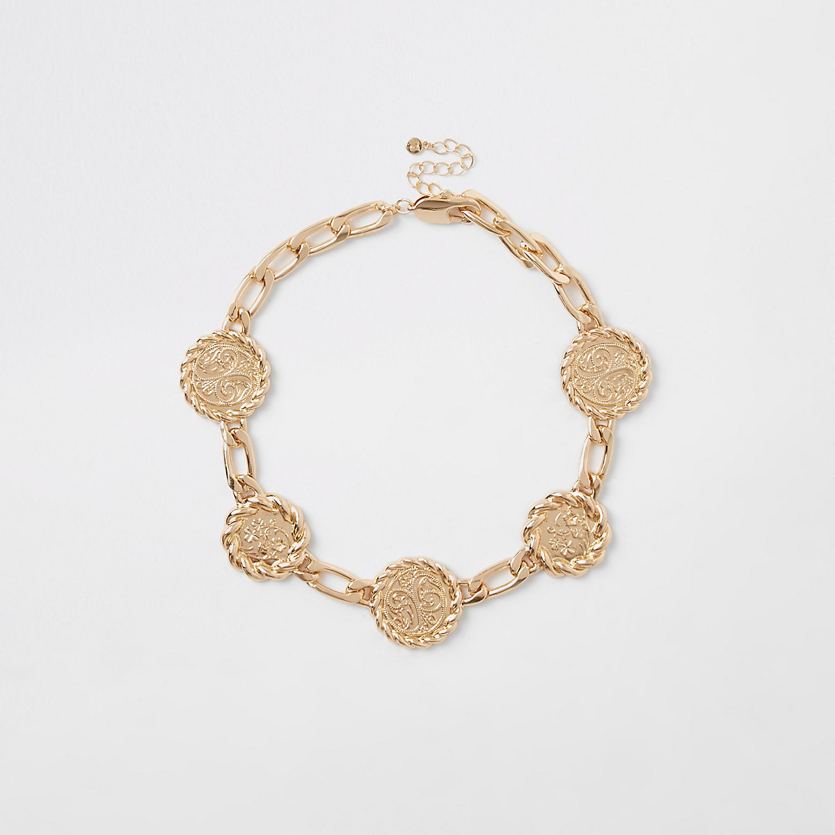 Gold tone medallion chain necklace