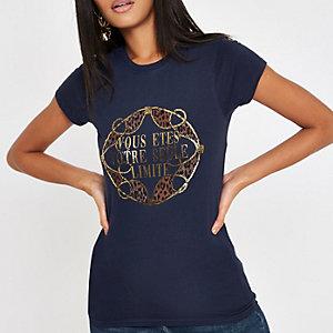Navy 'Vous etes' gold foil T-shirt