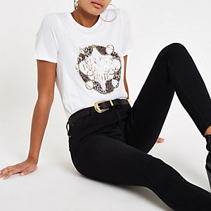 Wit T-shirt met goudkleurige 'Vous etes'-folieprint
