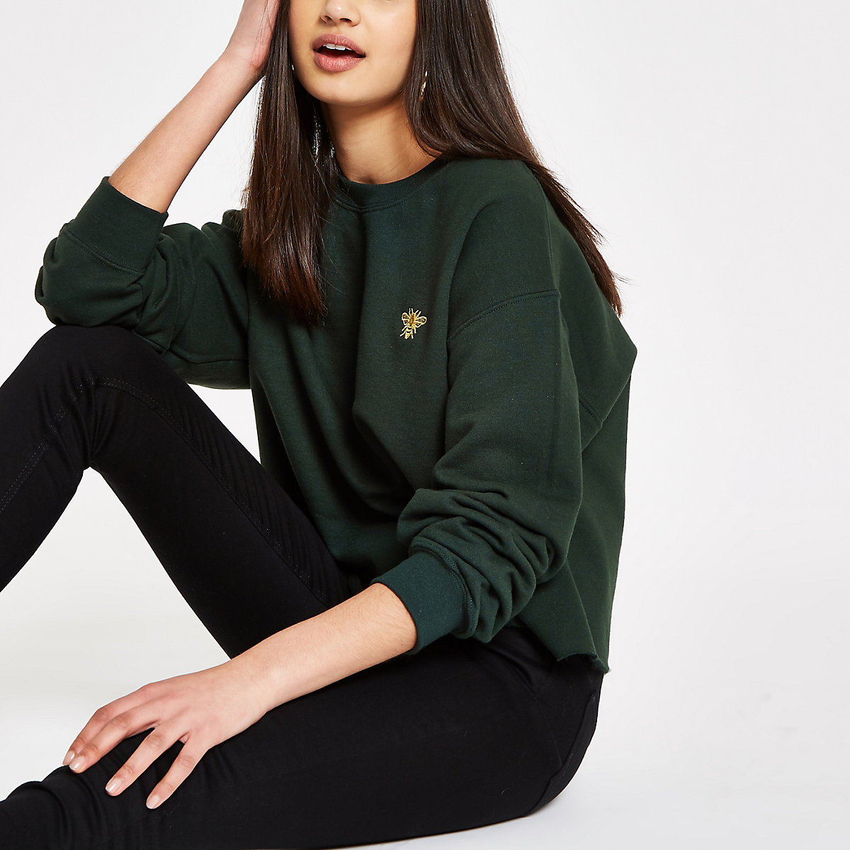 Khaki wasp embroidered sweatshirt