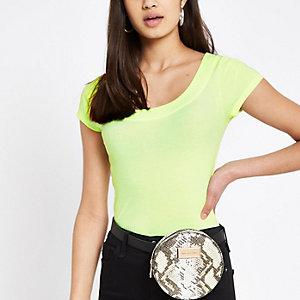 Neongeel T-shirt met lage hals
