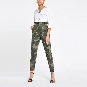 Khaki camo paperbag utility trousers