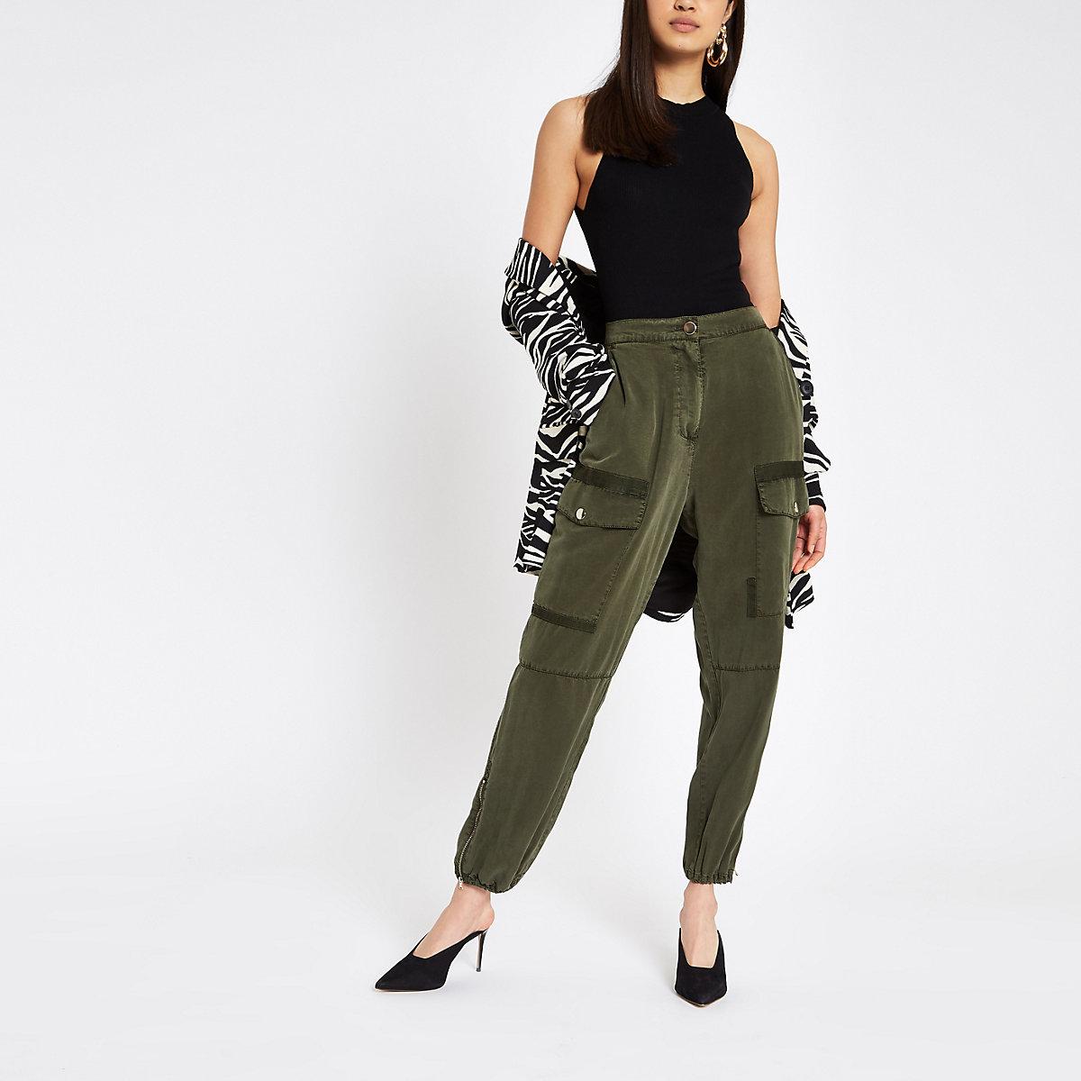 Khaki Hailey utility trousers