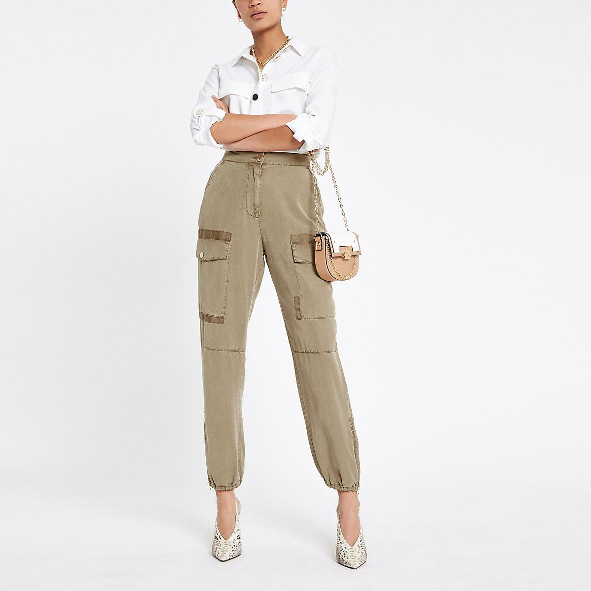 Beige Hailey utility trousers