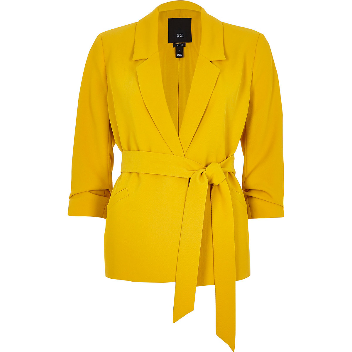 Petite yellow ruched sleeve belted blazer
