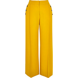 Petite yellow button wide leg trousers