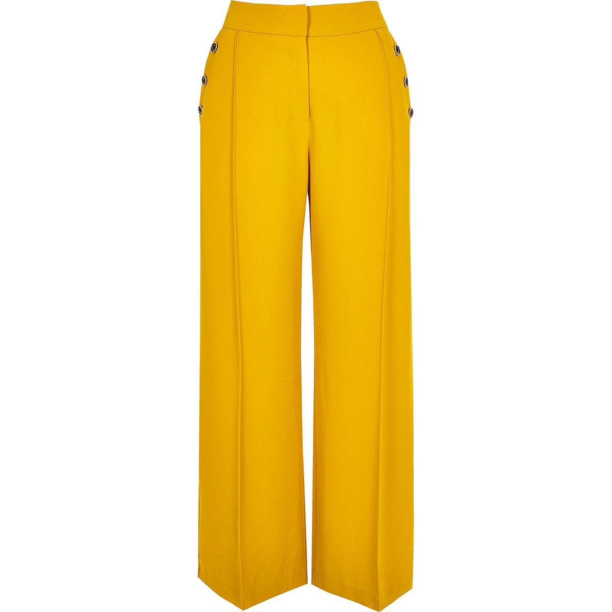 Petite yellow button wide leg pants