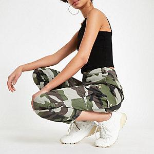 Khaki camo utility trousers
