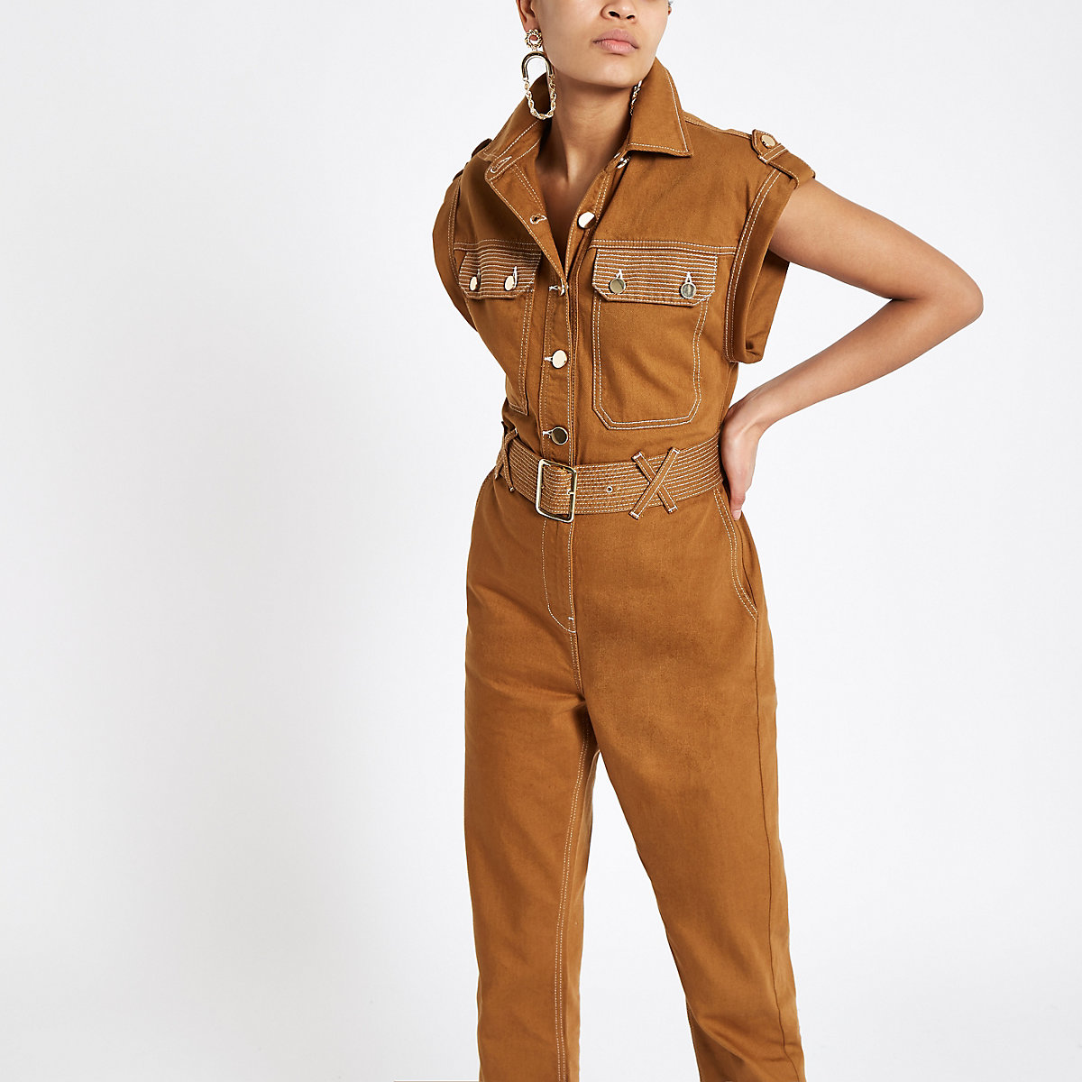Brown utility boiler jumpsuit