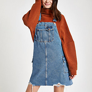 Blue utility pinafore denim dress