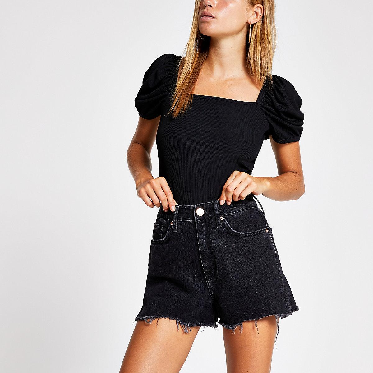 Annie - Zwarte washed denim short met hoge taille