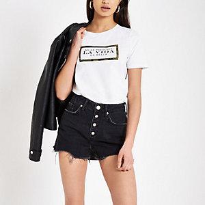 Annie - Zwarte washed short met hoge taille