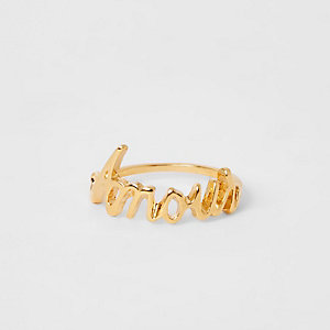 Gold colour 'Amour' ring