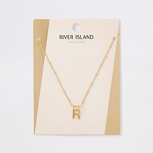Gold plated 'R' initial necklace