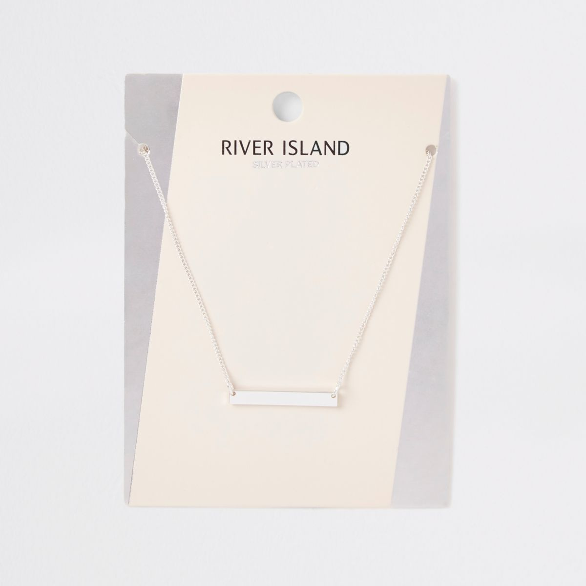 Silver plated bar necklace