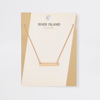 Gold Plated Bar Necklace by River Island