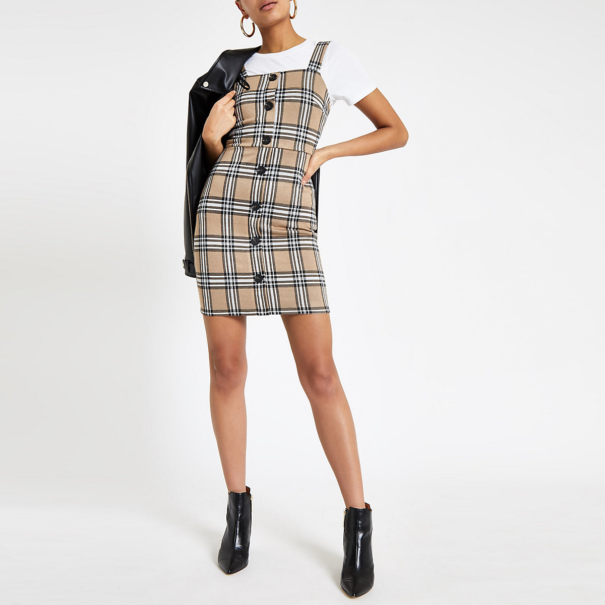 Brown check button front pinafore dress