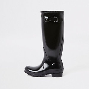 Hunter black tall gloss wellington boots