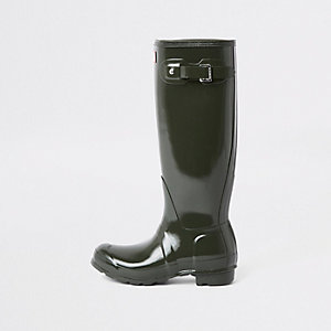 Hunter khaki tall gloss wellington boots
