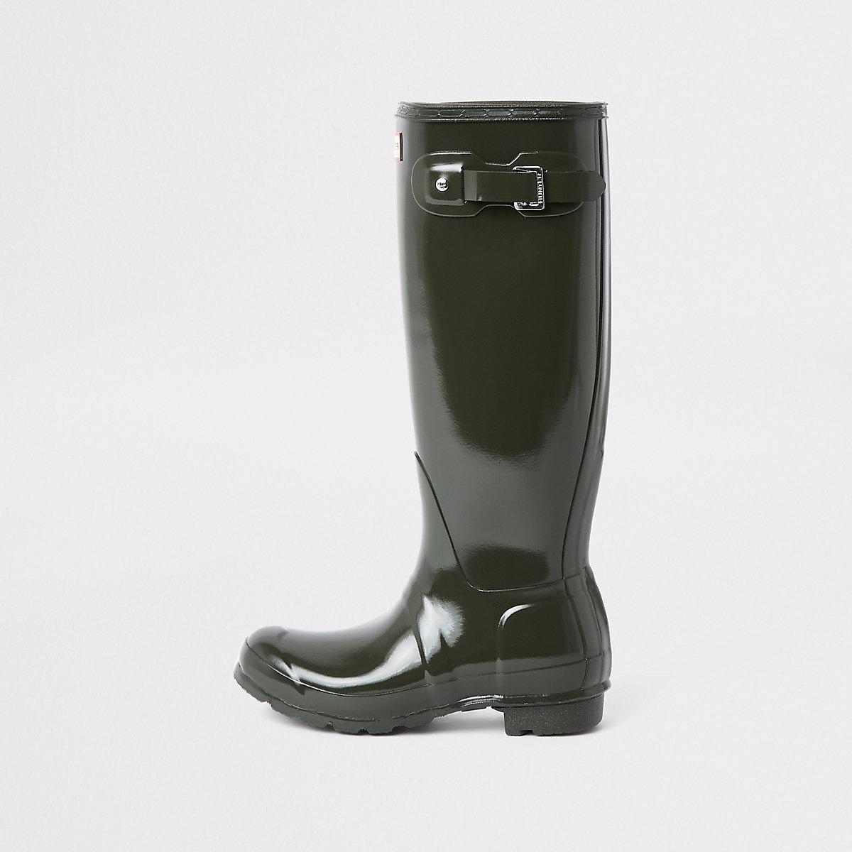 Hunter khaki tall gloss wellington boots