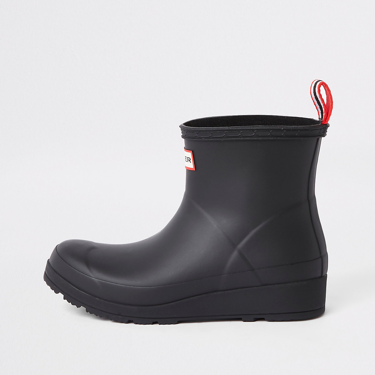 Hunter Play black short wellington boots